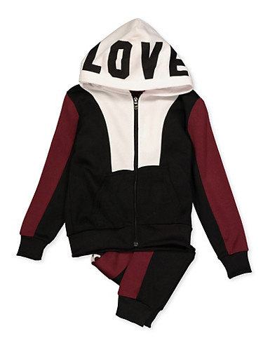 Girls 7-16 Love Zip Up Sweatshirt and Joggers,BLACK,large