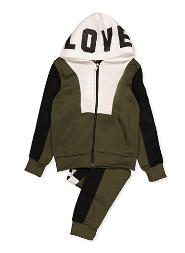 Girls 7-16 Love Graphic Color Block Sweatshirt and Joggers,OLIVE,large