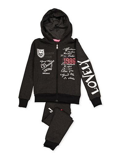 Girls 7-16 1986 Graphic Sweatshirt and Joggers,CHARCOAL,large