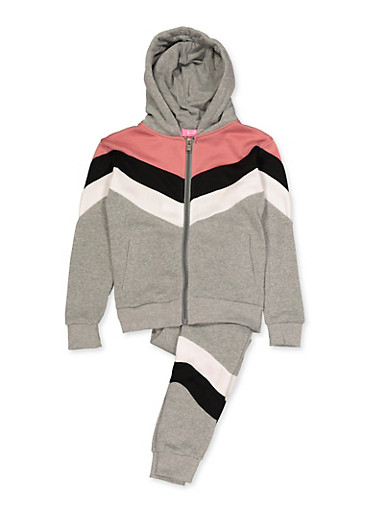Girls 7-16 Color Block Detail Sweatshirt and Joggers,HEATHER,large