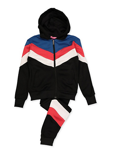 Girls 7-16 Chevron Detail Sweatshirt and Joggers Set,BLACK,large
