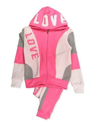 Girls 7-16 Love Color Block Zip Sweatshirt and Joggers,NEON PINK,large