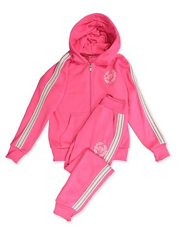 Girls 7-16 Love Queen Sweatshirt and Joggers,NEON PINK,large