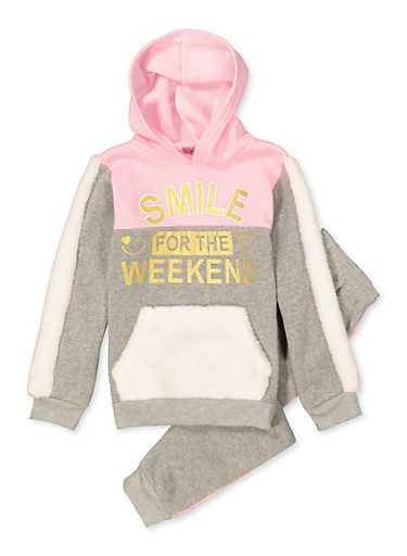 Girls 7-16 Smile for the Weekend Sweatshirt with Joggers,PINK,large