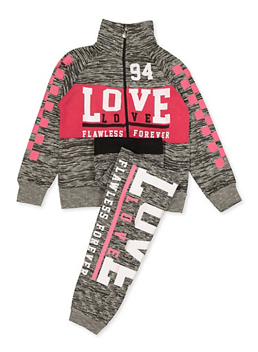 Girls 7-16 Love Flawless Forever Zip Sweatshirt and Joggers,BLACK,large