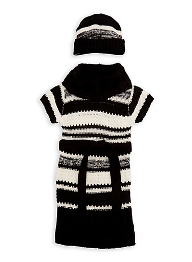 Girls 4-6x Cowl Neck Sweater Dress with Hat,BLACK,large