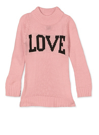 Girls 4-6x Love Knit Sweater,PINK,large