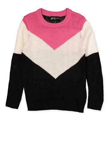 Girls 4-6x Chevron Color Block Sweater,IVORY,large