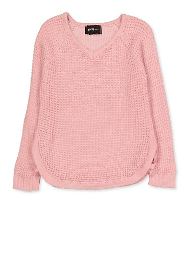 Girls 4-6x Caged Side Sweater,PINK,large