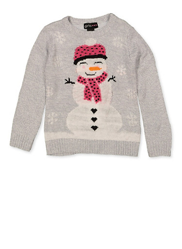 Girls 4-6x North Pole Snowman Sweater,GRAY,large