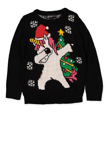 Girls 4-6x Animal Christmas Sweater,BLACK,large