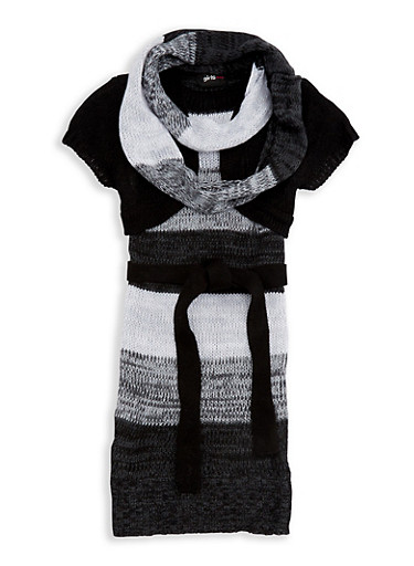 Girls 7-16 Shrug Sweater Dress with Infinity Scarf,BLACK,large