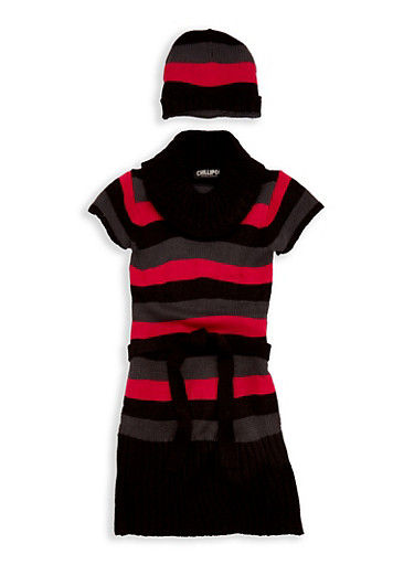 Girls 7-16 Striped Sweater Dress with Hat,BERRY,large
