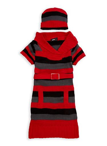 Girls 7-16 Red Fold Over V Neck Sweater Dress | Tuggl