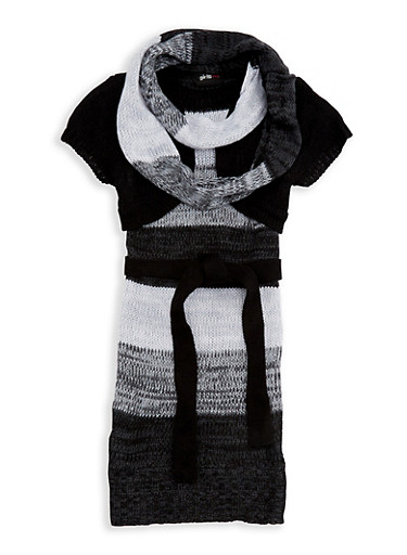 Girls 7-16 Shrug Sweater Dress with Infinity Scarf,BLACK,large