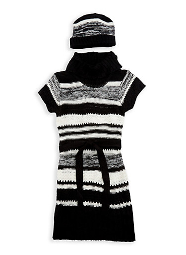 Girls 7-16 Striped Knit Sweater Dress with Hat,BLACK,large