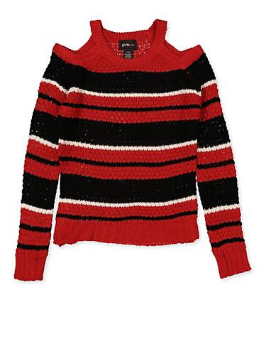 Girls 7-16 Striped Cold Shoulder Sweater | 3625038340075,RED,large