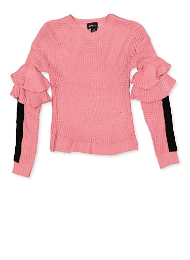 Girls 7-16 Tiered Sleeve Detail Sweater,PINK,large