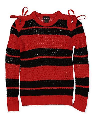 Girls 7-16 Striped Cold Shoulder Sweater | 3625038340078,RED,large
