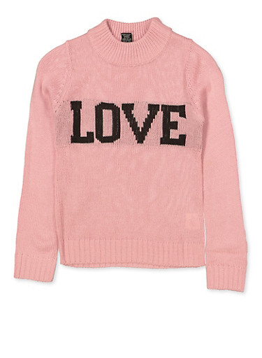 Girls 5-16 Knit Love Sweater,PINK,large