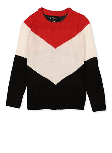 Tri Tone Chevron Sweater,RED,large
