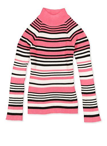 Girls 7-16 Striped Mock Neck Long Sleeve Sweater,NEON PINK,large