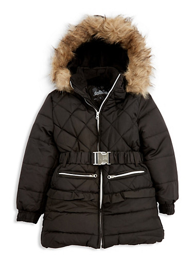 Girls 4-6x Quilted Long Puffer Jacket with Belt,BLACK,large