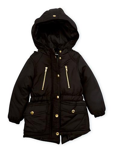 Girls 4-6x Cinched Waist Puffer Jacket,BLACK,large