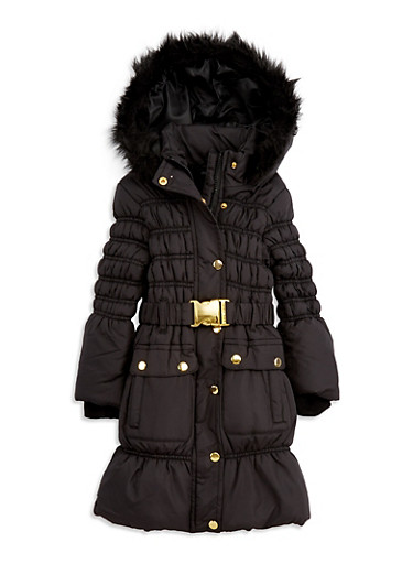 Girls 4-6x Long Bubble Jacket with Faux Fur Hood,BLACK,large