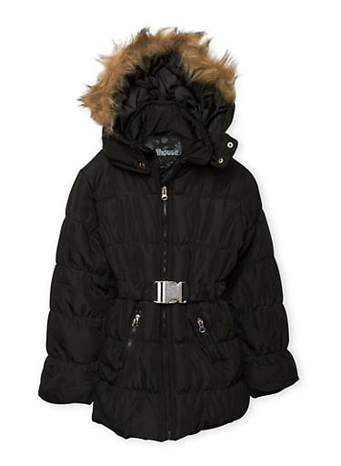 Girls 4-6x Belted Zip Puffer Jacket,BLACK,large