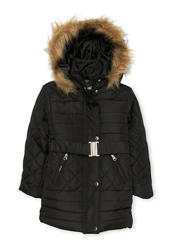 Girls 4-6x Quilted Puffer Jacket with Belt,BLACK,large