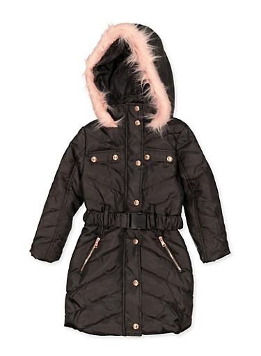 Girls 4-6x Hooded Long Puffer Coat,BLACK,large