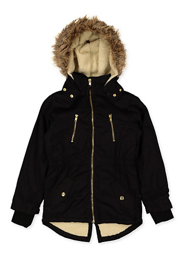Girls 7-16 Sherpa Lined Anorak Jacket,BLACK,large