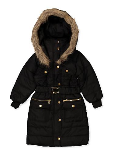 Girls 7-16 Long Belted Puffer Jacket,BLACK,large