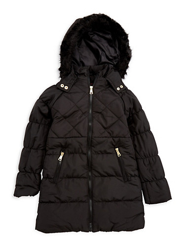 Girls 7-16 Quilted Faux Fur Jacket,BLACK,large