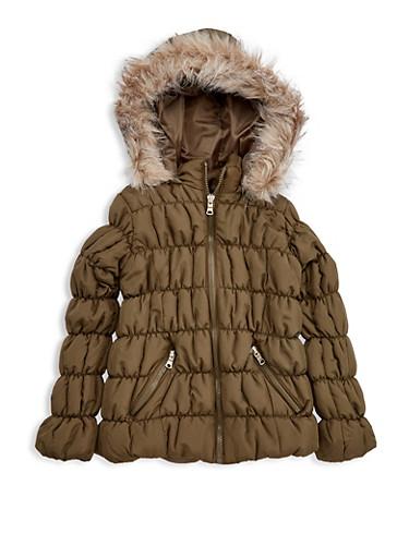 Girls 7-16 Olive Ruched Bubble Jacket,OLIVE,large