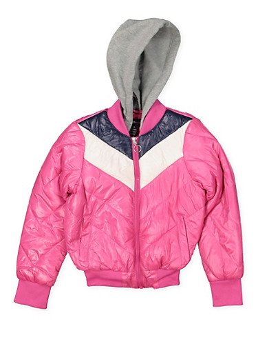 Girls 7-16 Color Block Puffer Jacket,FUCHSIA,large