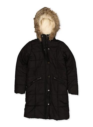 Girls 7-16 Sherpa Lined Long Puffer Jacket,BLACK,large
