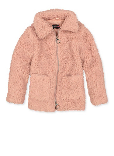Girls 7-16 Solid Sherpa Jacket,PEACH,large