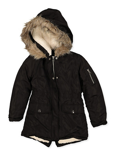 Girls 7-16 Hooded Sherpa Lined Puffer Jacket,BLACK,large