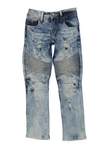 Girls 4-6x Acid Wash Moto Jeans,DENIM,large