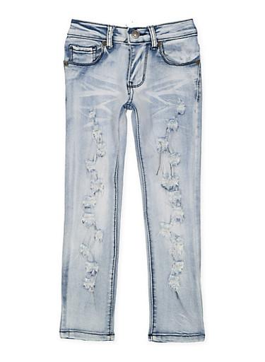 Girls 4-6x Destroyed Skinny Jeans,DENIM,large