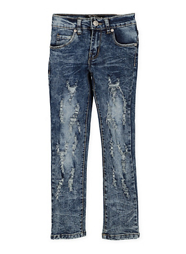 Girls 4-6x Destruction Jeans,DENIM,large