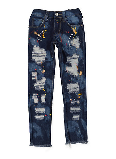 Girls 4-6x Paint Splatter Destroyed Jeans,DENIM,large