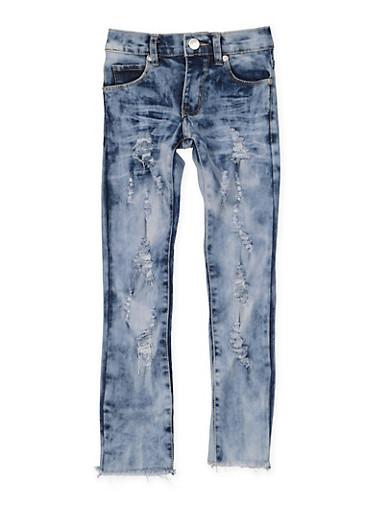 Girls 4-6x Distressed Frayed Hem Jeans,DENIM,large