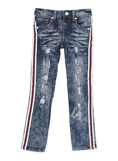 Girls 4-6x Striped Tape Detail Destroyed Jeans,DENIM,large