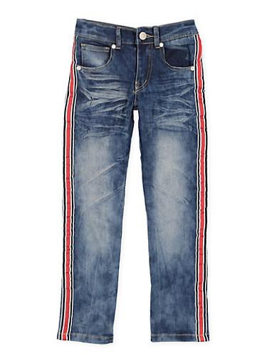 Girls 4-6x Whiskered Stripe Tape Detail Skinny Jeans,DENIM,large