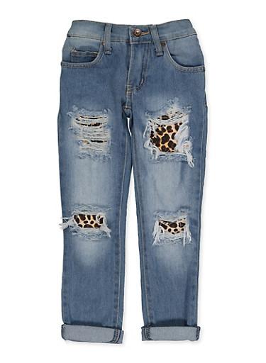 Girls 4-6x Leopard Rip and Repair Jeans,DENIM,large