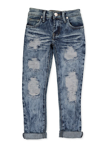 Girls 4-6x Distressed Whiskered Acid Wash Jeans,DENIM,large