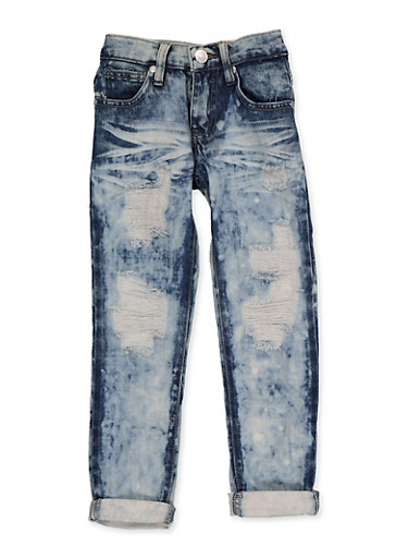Girls 4-6x Destroyed Roll Cuff Jeans,DENIM,large